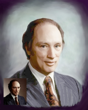 Portrait on Canvas of Pierre Trudeau, size 18 x 24 inches, made using a 4x5 small photo. We can made your family portrait on canvas according with your preferences. We can adding hair, change backgrounds, color of dresses, eyes, etc. The possibilities are unlimited.