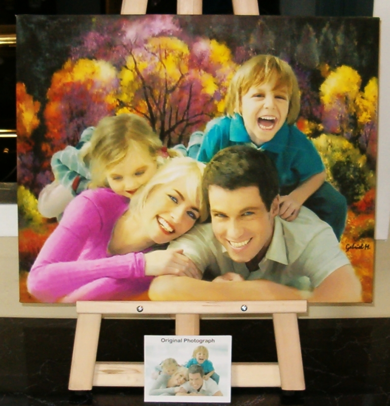 Beautiful Family Portraits on canvas from your best pictures. We can transform your ordinary pictures in amazing Artwork