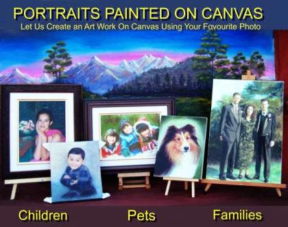 Beautiful portraits on canvas from your best pictures: Baby and Kids portraits, Children, Girls and Boys portraits. Bridal and Wedding Portraits.  Family Portraits. Cats, dogs, hourses and any pet portrait.